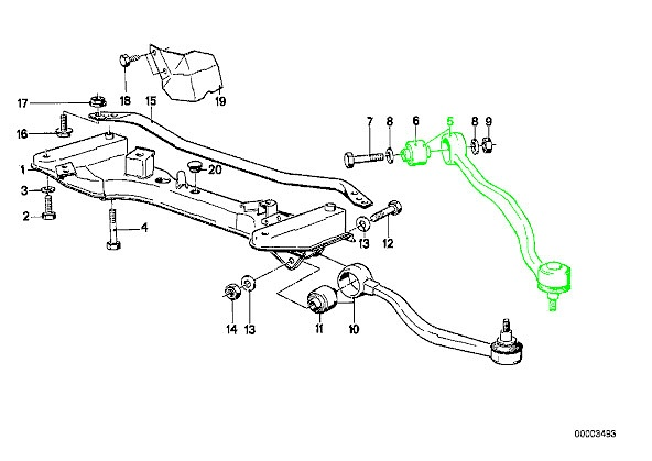 bmw e24 e28 oem support control arm right front upper thrust link